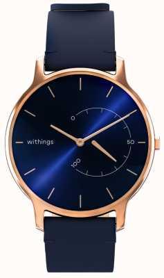 Withings Przenieś ponadczasowy szyk - niebieska skóra, różowe złoto HWA06M-TIMELESS CHIC-MODEL 3-RET-INT