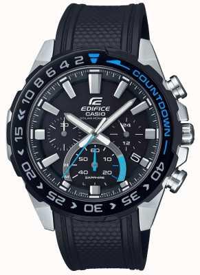 Casio | gmach słoneczny | czarny gumowy pasek czarny chronograf EFS-S550PB-1AVUEF