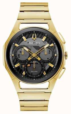 Bulova | curv | męskie | bransoletka ze złotym tonem | czarna tarcza chrono | 97A144
