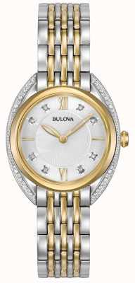 Bulova Klasyczny diament damski | Dwukolorowa bransoleta ze stali nierdzewnej 98R229