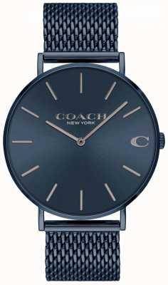 Coach Męskie charles | niebieska bransoleta ze stali ip mesh niebieska tarcza 14602146