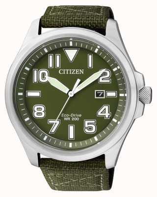 Citizen | męskie eco-drive | zielony nylonowy pasek | zielona tarcza | AW1410-32X