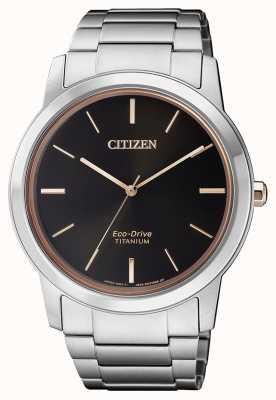 Citizen | mężczyzna eco-drive tytanowy wr50 | czarna tarcza | srebrna bransoletka AW2024-81E