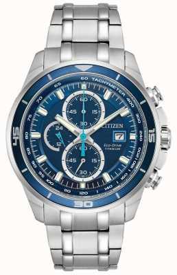 Citizen | mężczyzna eco-drive tytanowy wr100 | niebieska tarcza chronografu | CA0349-51L