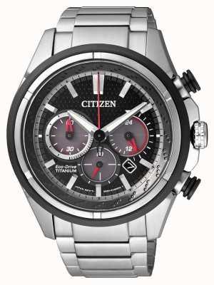 Citizen | męskie eco-drive | bransoletka tytanowa | czarna tarcza | CA4241-55E
