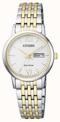 Citizen | eko-drive dla kobiet | dwukolorowa bransoletka | srebrna tarcza | EW3254-87A
