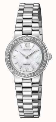 Citizen | eko-drive dla kobiet | kryształowa obudowa | srebrna bransoletka | EW9820-89D