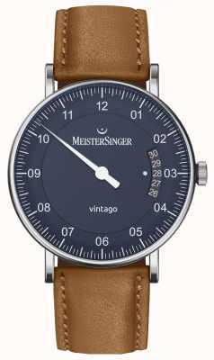 MeisterSinger | męskie vintago | automatyczne | brązowa skóra | niebieska tarcza VT908