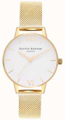 Olivia Burton | damskie | biała tarcza | złota bransoletka z siatki | OB16MDW35