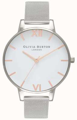 Olivia Burton | damskie | biała tarcza | srebrna bransoletka z siatki | OB16BD97