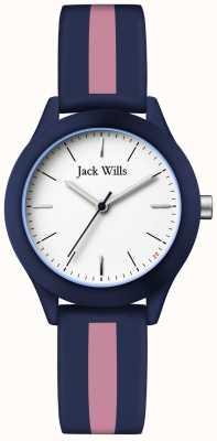 Jack Wills | unia kobiet | biała tarcza | granatowo-różowy pasek silikonowy | JW008BLPST