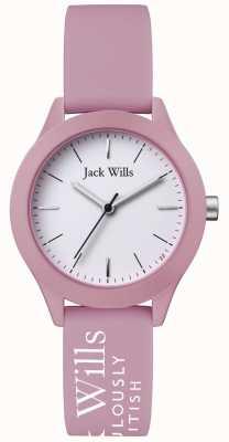 Jack Wills | unia kobiet | biała tarcza | różowy pasek silikonowy | JW008PKWH