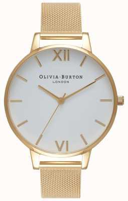 Olivia Burton | damskie | biała tarcza | złota bransoletka z siatki | OB15BD84