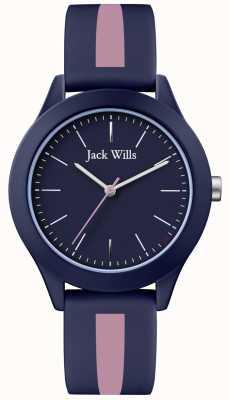 Jack Wills | unia męska | granatowa tarcza | różowy / granatowy pasek silikonowy | JW009BLPST