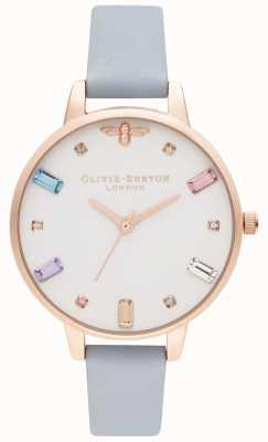 Olivia Burton | damskie | tęczowa pszczoła | niebieski pasek kredowy | OB16RB12