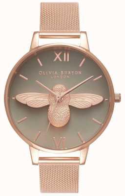 Olivia Burton | damskie | 3d pszczoła | bransoletka z różowego złota | szara tarcza | OB16AM117