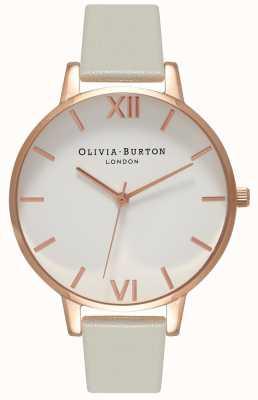 Olivia Burton | damskie | biała tarcza | szary skórzany pasek | OB15BDW02