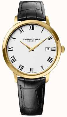 Raymond Weil | męskie toccata | złota skrzynka | czarny skórzany pasek | 5588-PC-00300