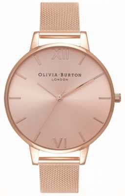 Olivia Burton | kobiety | duża tarcza słoneczna | bransoletka z siateczki w kolorze różowego złota | OB16BD102