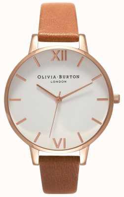 Olivia Burton | kobiety | duża biała tarcza | brązowy skórzany pasek | OB16BDW19
