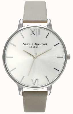 Olivia Burton | kobiety | srebrna tarcza | szary skórzany pasek | OB15BD57