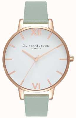 Olivia Burton | kobiety | duża biała tarcza | miętowy skórzany pasek | OB16BDW27