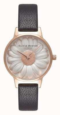 Olivia Burton | kobiety | 3d daisy dial | czarny skórzany pasek | OB16FS97