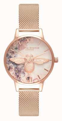 Olivia Burton | kobiety | akwarela kwiecista pszczoła | siatka ze złota różowego | OB16PP40