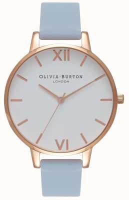Olivia Burton | kobiety | duża biała tarcza | kredowy niebieski pasek | OB16BDW18