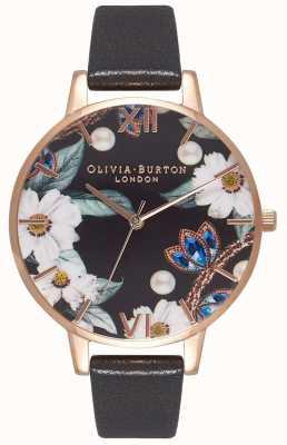 Olivia Burton | kobiety | bejeweled florals | czarny skórzany pasek | OB16BF04
