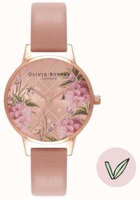 Olivia Burton | kobiety | kwiatowa tarcza | wegański pasek z różowego piasku | OB16VE02