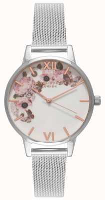 Olivia Burton   kobiety   podpis florals dial   bransoleta z siatki stalowej   OB16WG30