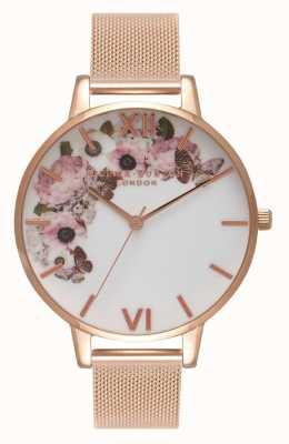 Olivia Burton | kobiety | podpis kwiatowy tarcza | bransoletka z siateczki w kolorze różowego złota | OB16WG18