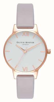 Olivia Burton | kobiety | szary pasek liliowy | biała tarcza | OB16MDW32