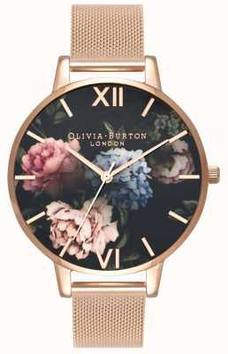 Olivia Burton | kobiety | ciemna tarcza bukietowa | bransoletka z siateczki w kolorze różowego złota | OB16WG52