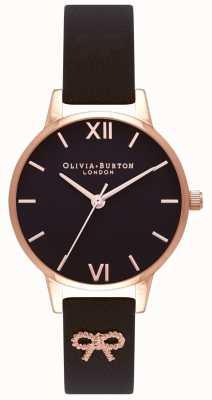 Olivia Burton | damskie | czarna tarcza | czarny pasek vintage bow | OB16VB07