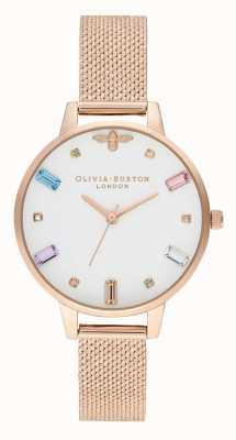 Olivia Burton | damskie | tęczowa pszczoła | bransoletka z siatki w kolorze różowego złota | OB16RB15