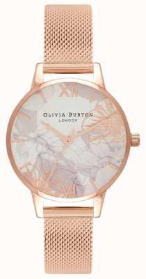Olivia Burton | kobiety | streszczenie florals | bransoletka z siateczki w kolorze różowego złota | OB16VM11