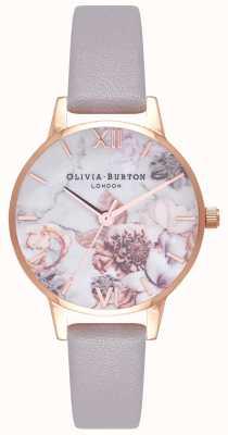 Olivia Burton | kobiety | marmurowe florale | szary skórzany pasek | OB16CS14