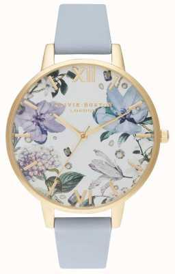 Olivia Burton | kobiety | bejeweled florals | pasek ze skóry kredowej w kolorze niebieskim | OB16BF21