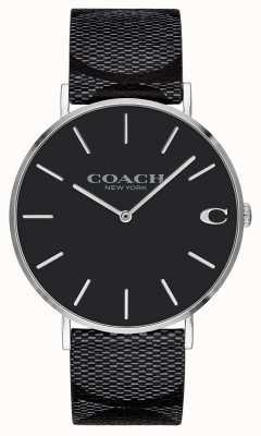 Coach | męskie | podpis | charles | czarna skóra | 14602157