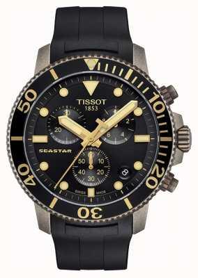 Tissot | męskie seastar | czarna tarcza chronografu | czarny pasek z gumy T1204173705101