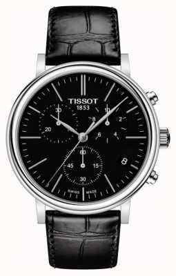 Tissot | męskie samochody | czarna tarcza chronografu | czarny skórzany pasek T1224171605100