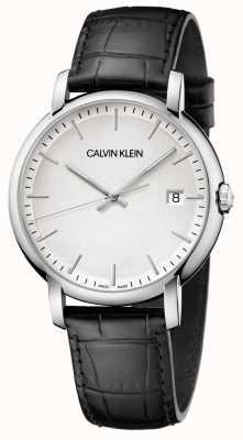 Calvin Klein   ustanowione męskie   czarny skórzany pasek   biała tarcza   K9H211C6