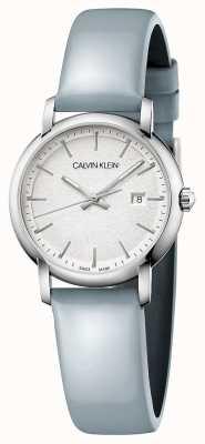 Calvin Klein | kobiety założone | niebieski skórzany pasek | srebrna tarcza | K9H231V6