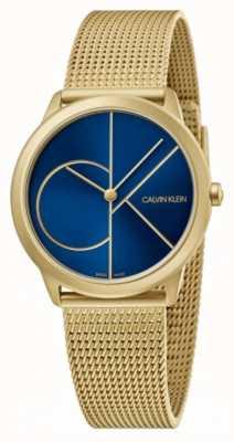 Calvin Klein Minimalna | złota bransoletka z siatki | niebieska tarcza | K3M5255N