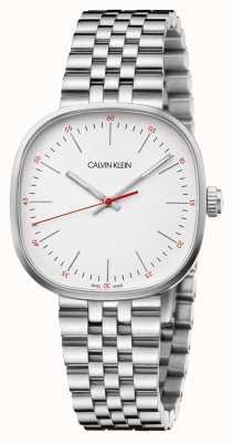 Calvin Klein   męska bransoleta ze stali nierdzewnej   srebrna kwadratowa tarcza   K9Q12136