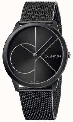 Calvin Klein Minimalna | czarna bransoletka z siatki | czarna tarcza | K3M5T451