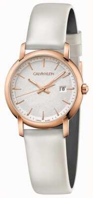 Calvin Klein | kobiety założone | biały skórzany pasek | srebrna tarcza | K9H236L6