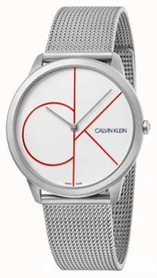 Calvin Klein Minimalna | srebrna bransoletka z siatki | biała tarcza | K3M51152